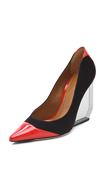 Pollini Pointed Toe Pumps on Lucite Heel