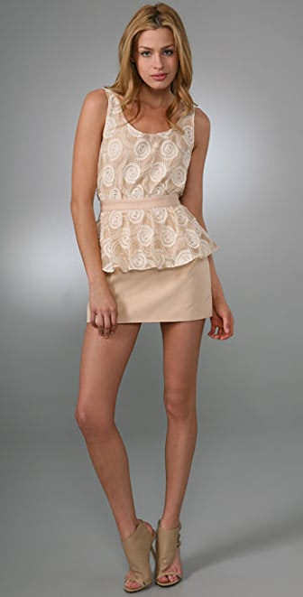 Porter Grey Embroidered Peplum Dress with Cutout Back