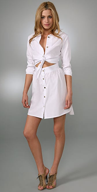Porter Grey Tie Waist Shirtdress with Cutout