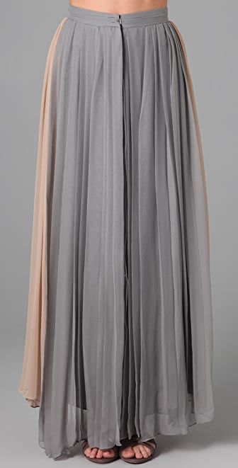Porter Grey Pleated Long Skirt