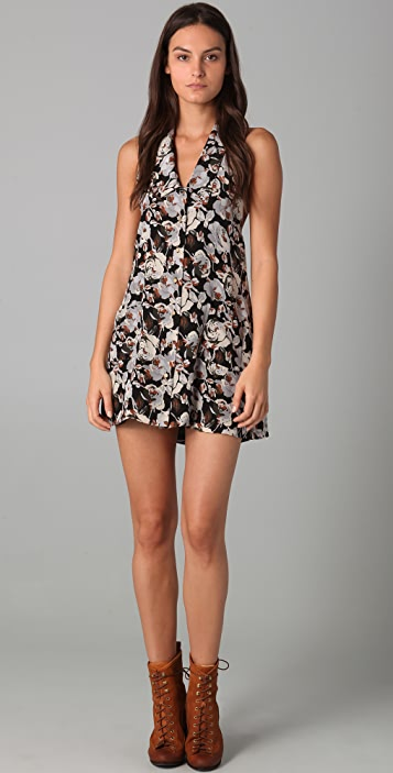 Porter Grey Halter Floral Dress