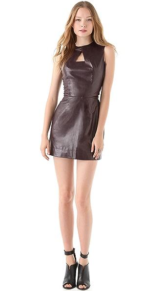 Porter Grey Cutout Leather Dress