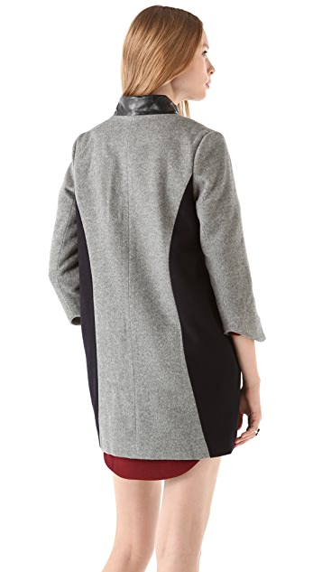 Porter Grey Two Tone Coat with Leather Trim