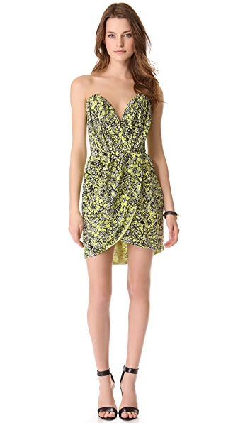 Porter Grey Printed Strapless Dress