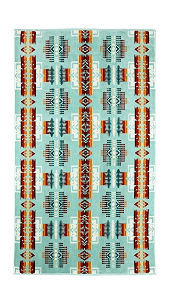 Pendleton, The Portland Collection Chief Joseph Aqua Oversized Jacquard Towel
