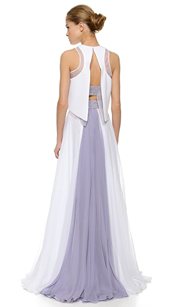 Prabal Gurung Beaded Gown with Cropped Overlay