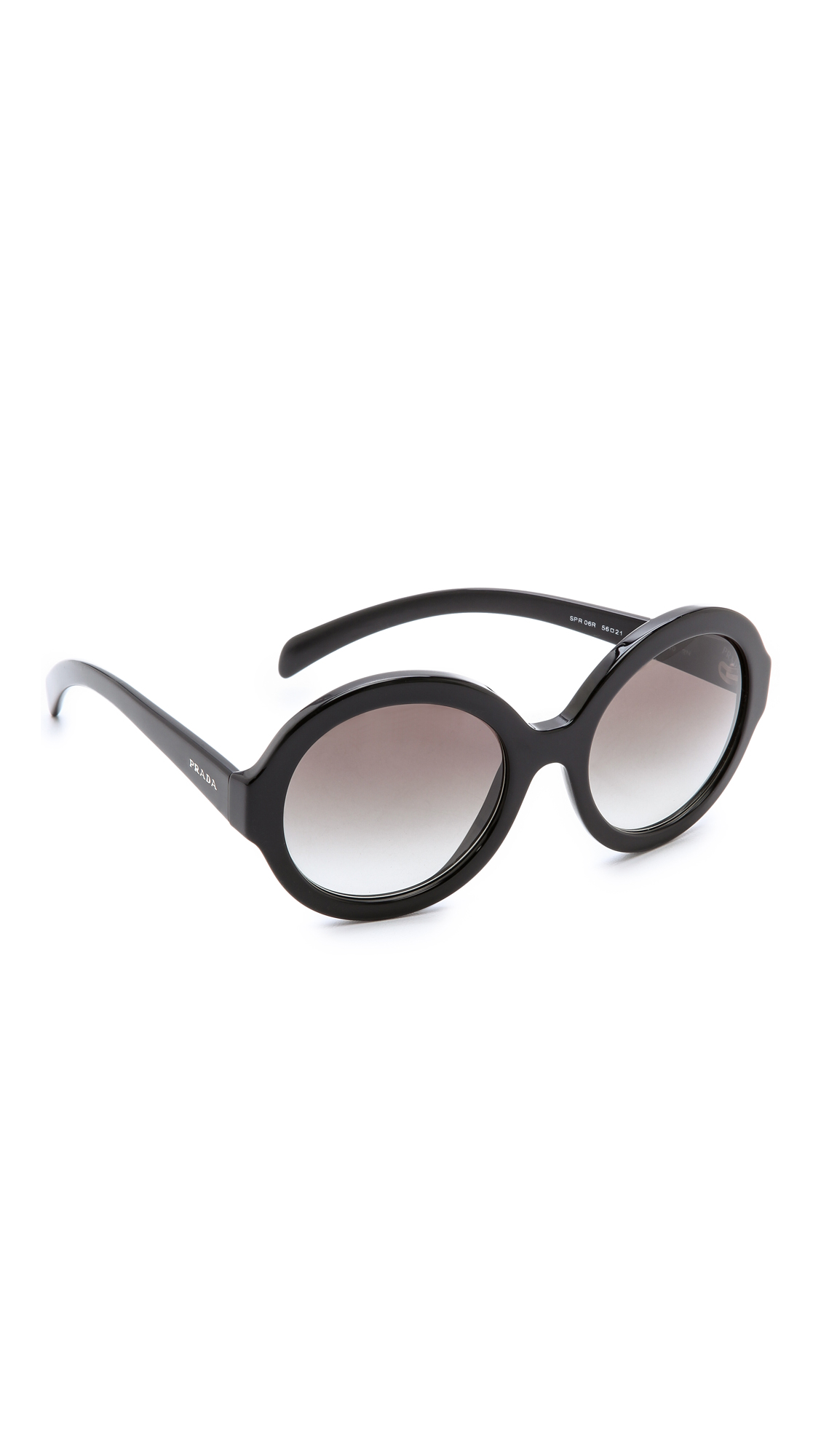 Prada Rounded Sunglasses - Black/Grey Gradient at Shopbop