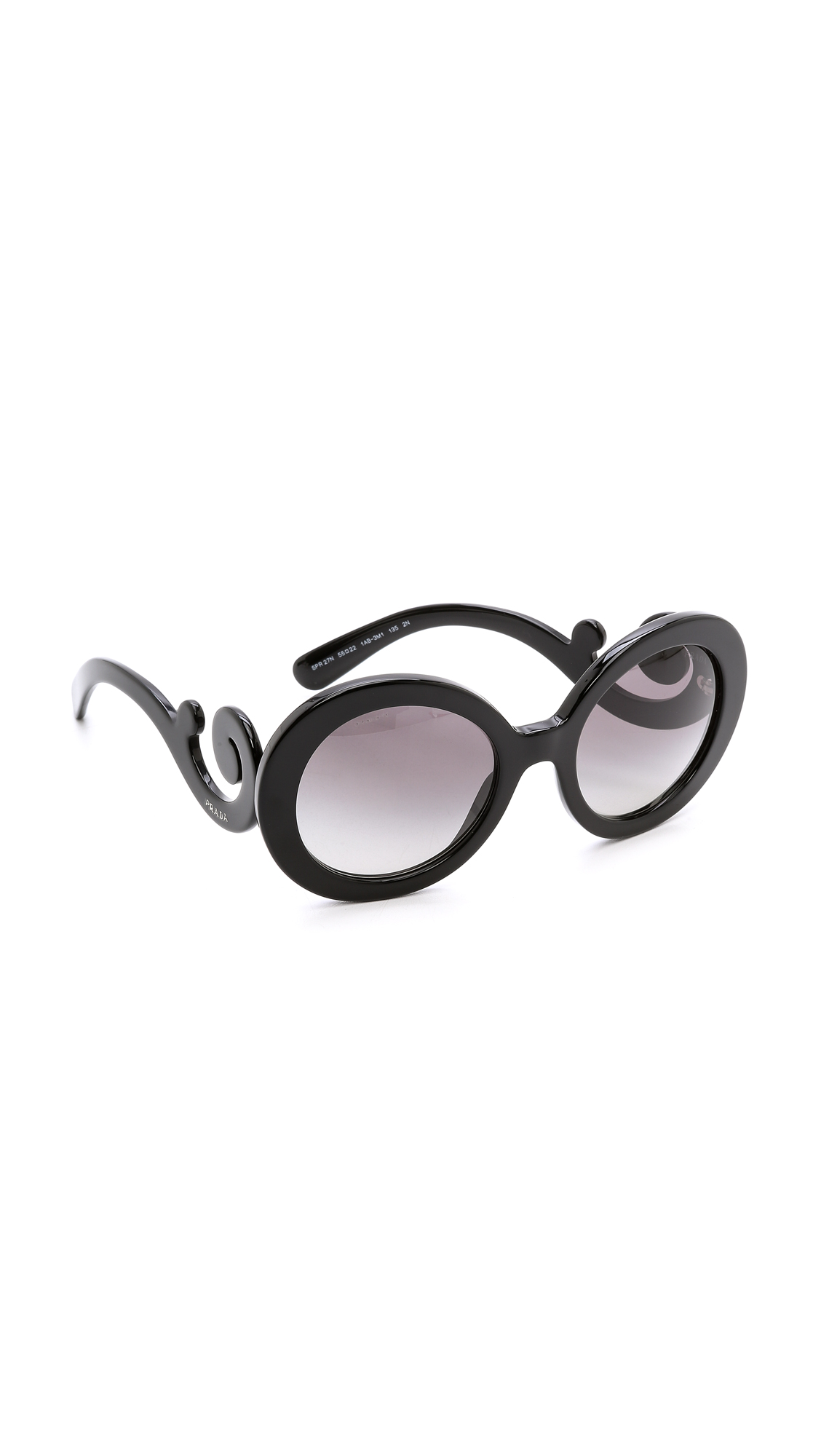 Prada Round Sunglasses - Black/Black at Shopbop