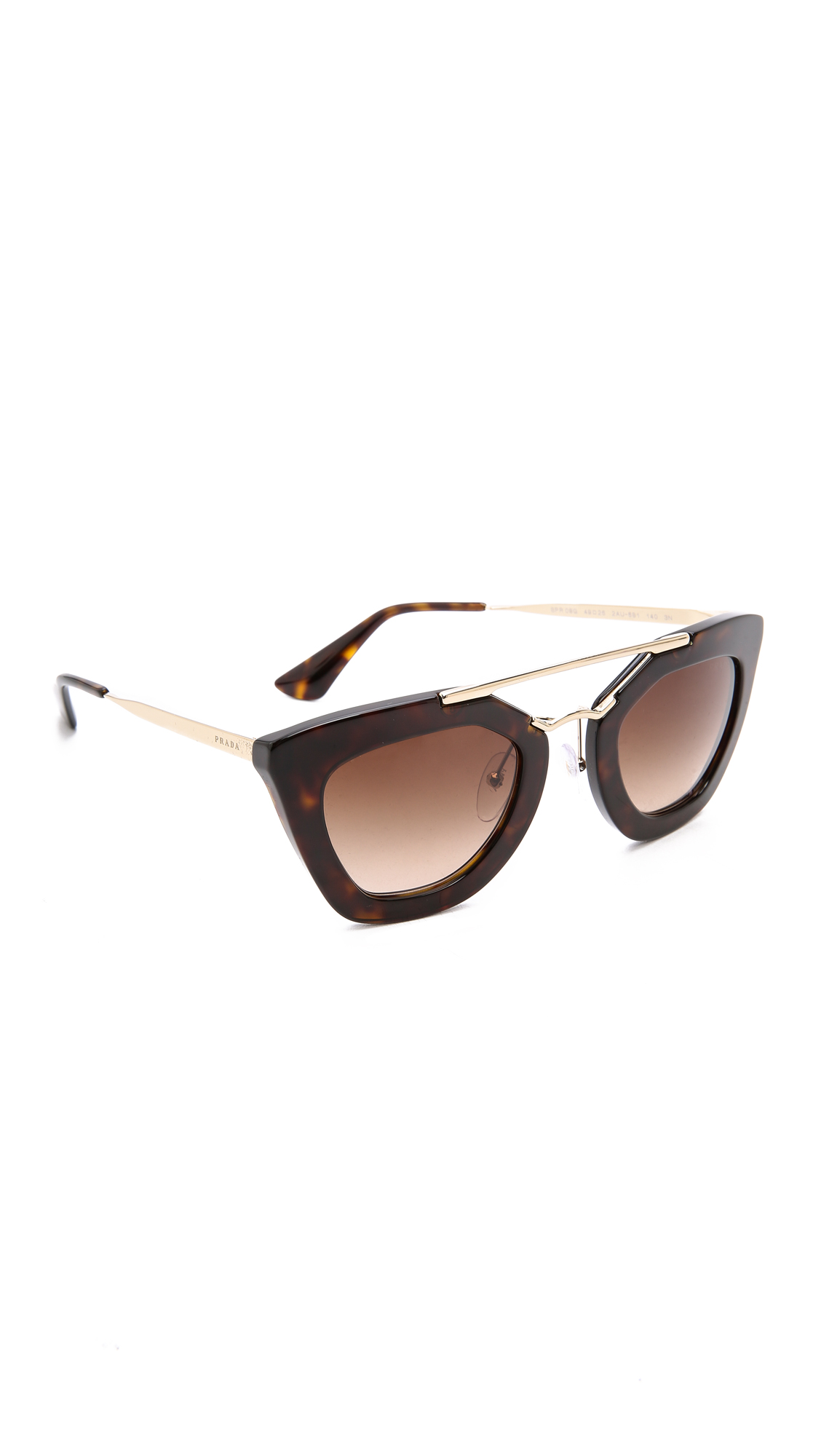 Prada Thick Frame Sunglasses - Havana/Brown at Shopbop