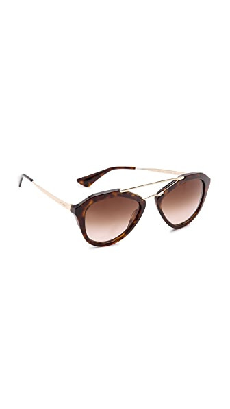 Prada Aviator Sunglasses In Brown/Brown