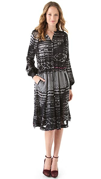 Preen By Thornton Bregazzi Line Print Tie Waist Dress