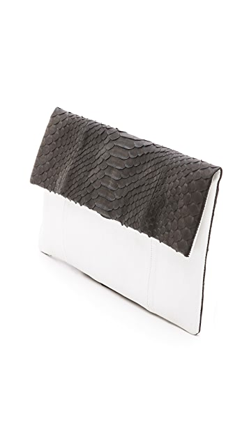 Primary Fold Over Python Clutch