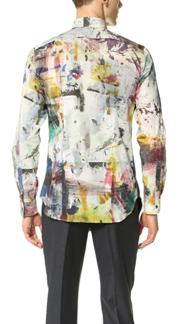 PS by Paul Smith Paint Print Slim Fit Shirt