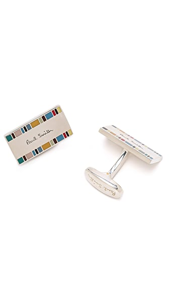 Paul Smith 2 Edge Silver Cufflinks