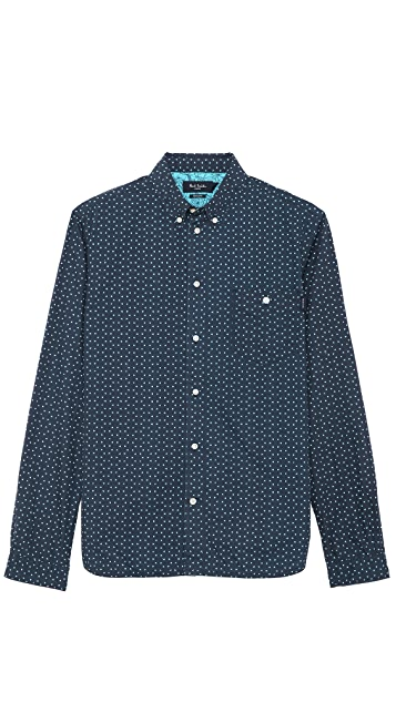 Paul Smith Jeans Long Sleeve Tailored Fit Triangle Print Shirt