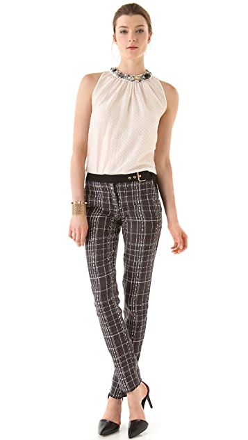Peter Som Plaid Pants with Solid Trim