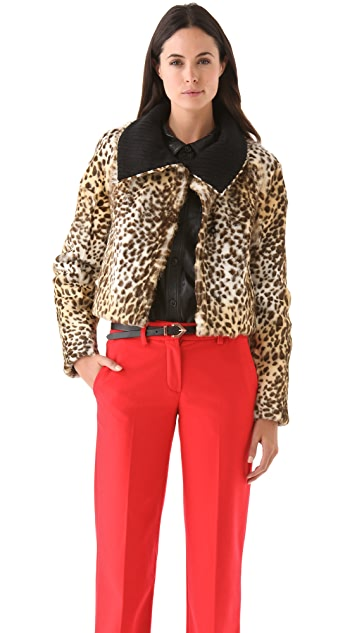 Peter Som Leopard Coat with Collar