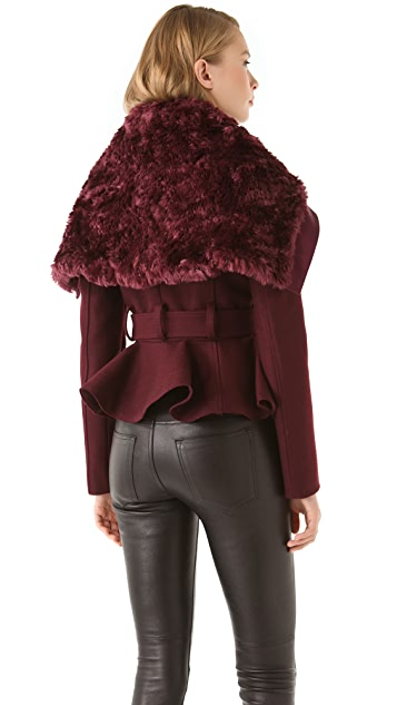 Peter Som Felted Wool Jacket with Faux Fur Collar