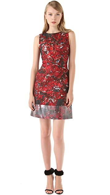 Peter Som Floral Dress with Coated Trim