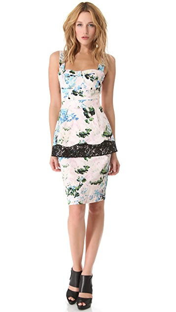 Peter Som Floral Peplum Dress