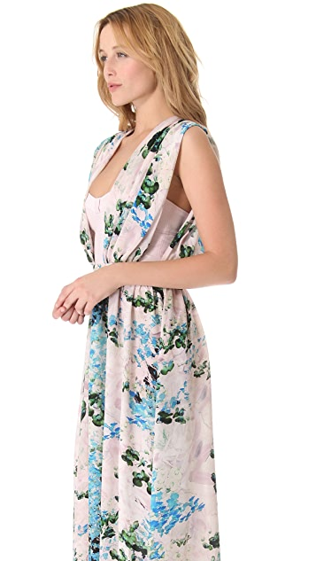 Peter Som Floral Gown with Exposed Bodice