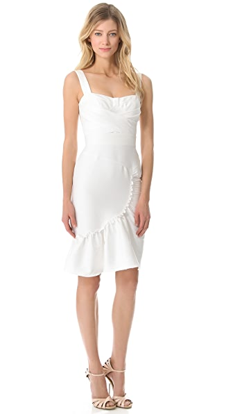 Peter Som Ruched Dress with Ruffled Skirt