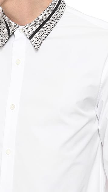 Public School Sport Shirt with Patterned Collar