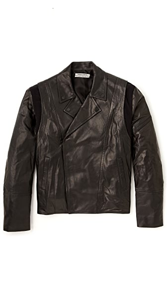Public School Leather Biker Jacket