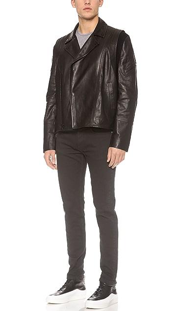 Public School Leather Biker Jacket