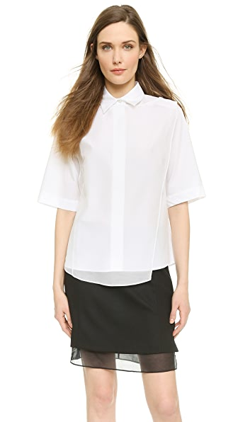 Public School Asymmetrical Overlay Shirt - White