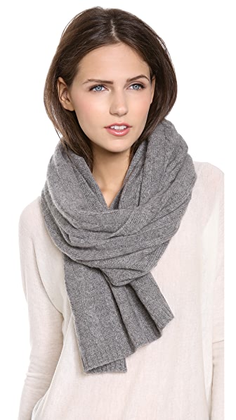 QUINN Cashmere Cable Knit Scarf