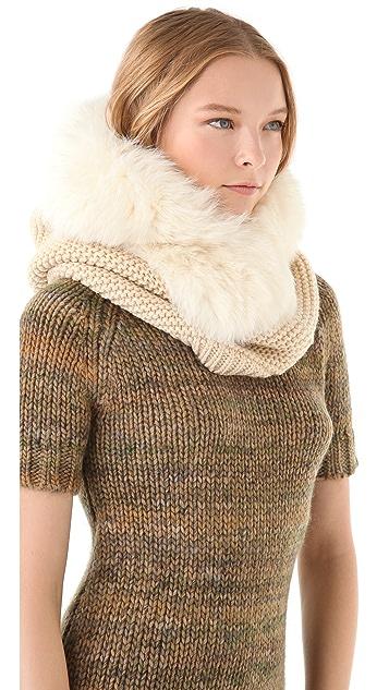 Rachel Zoe Hooded Neck Warmer with Fox Fur