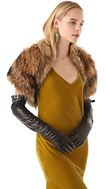 Rachel Zoe Long Gloves with Buckle