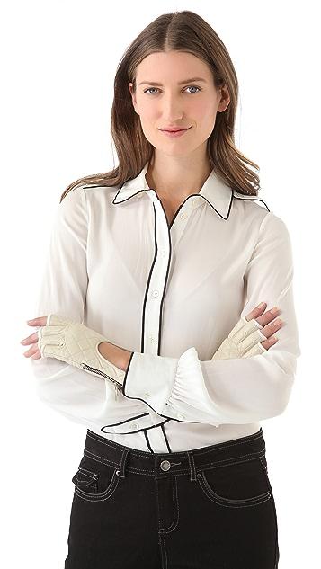 Rachel Zoe Quilted Fingerless Driver Gloves