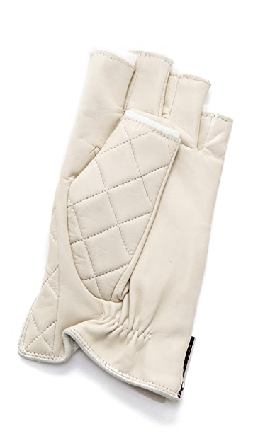 Rachel Zoe Quilted Fingerless Driver Gloves