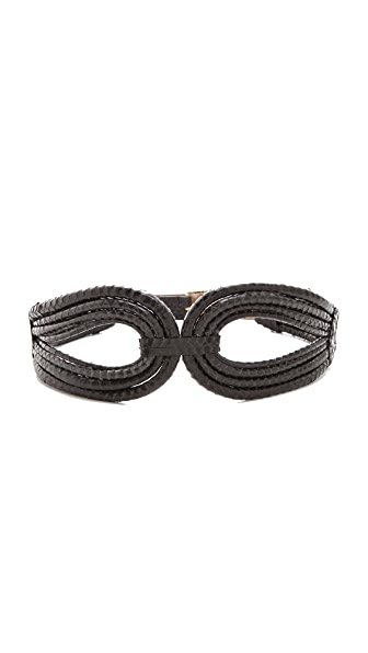 Rachel Zoe Cord Snakeskin Belt with Screw Buckle