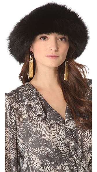 Rachel Zoe Fox Trim Knit Cap