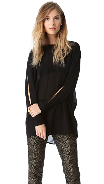 Rachel Zoe Laurelie Pleated Back Blouse