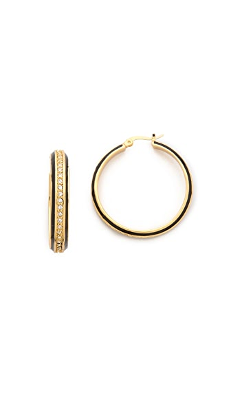 Rachel Zoe Small Enamel Pave Hoop Earrings