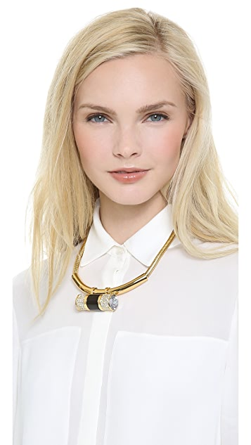 Rachel Zoe Crystal Barrel Statement Necklace