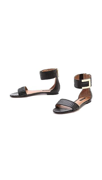 Rachel Zoe Gracie Snakeskin Flat Sandals