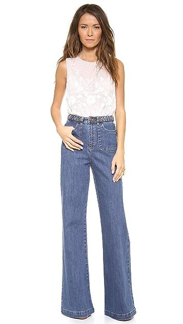Rachel Zoe Ella Braided Wide Leg Jeans