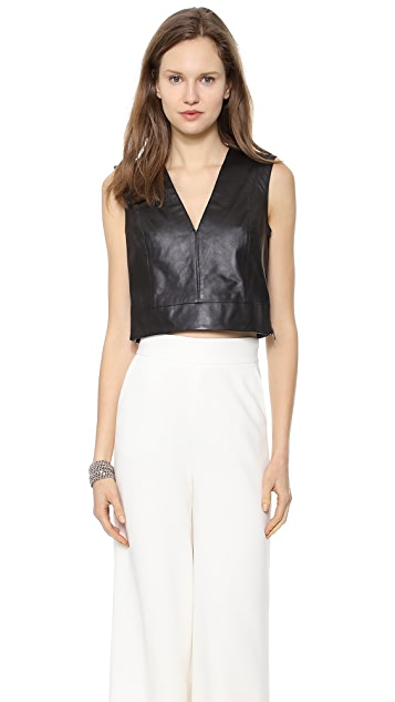 Rachel Zoe Ashtyn Cropped Leather Top
