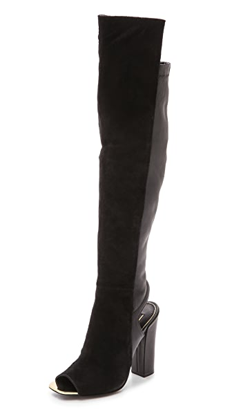 Rachel Zoe Open Toe Knee High Boots