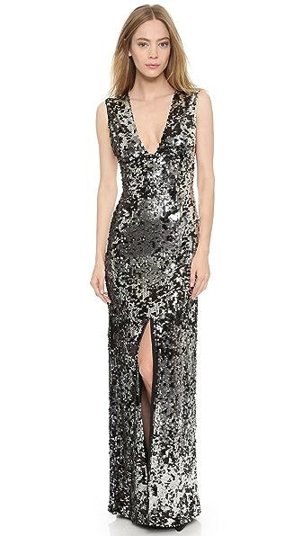 Rachel Zoe Venus Seamed Bust Maxi Dress - Silver/Black