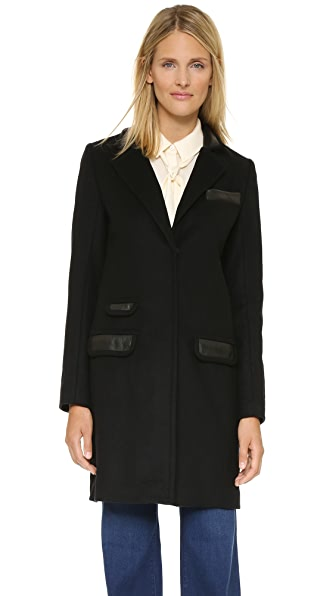 Rachel Zoe Katharine Wool Coat - Black/Leather