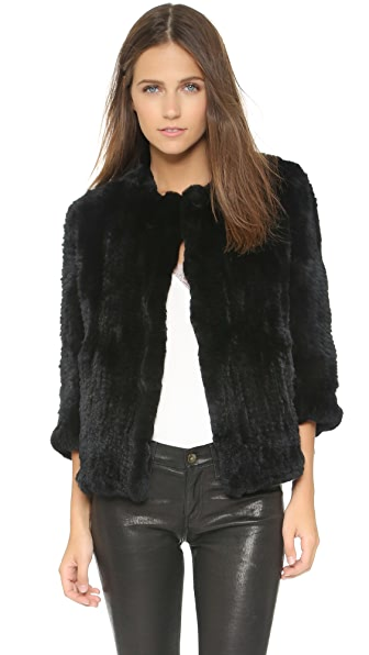 Rachel Zoe Rabbit Fur Jacket In Black
