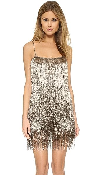 Rachel Zoe Della Fringe Metallic Mini Dress - Copper