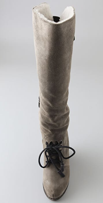 Rag & Bone Butakhan Suede Wedge Boots with Shearling Lining