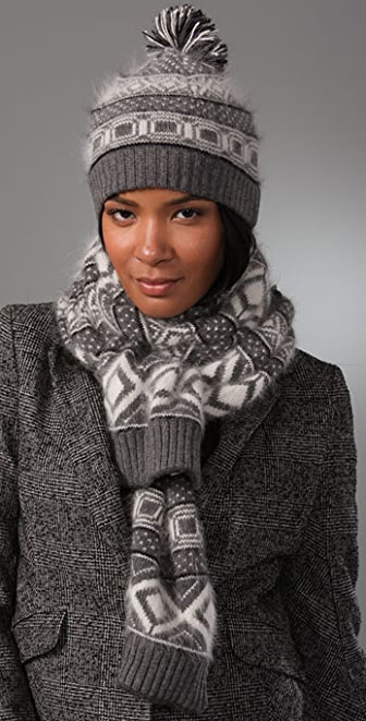 Rag & Bone Grayling Fair Isle Hat with Attached Scarf